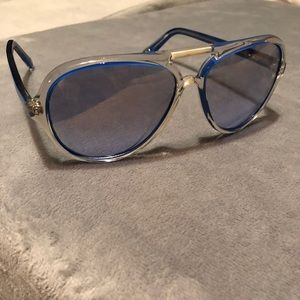 Blue and clear Michael kids sunglasses and case
